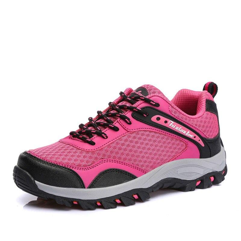 KERZER Mountain Sneakers Women Mesh Breathable Trekking font b Boots b font Womens Shoes Red Purple