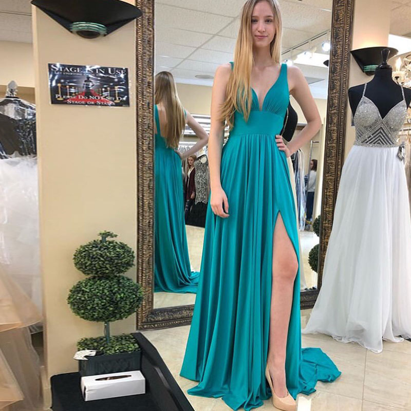Simple V-neck   Evening     Dresses   Floor Length Teal Chiffon Front Split Women Formal Party   Dresses   2019 New A-line   Evening   Gowns