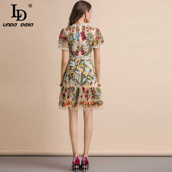 LD LINDA DELLA New 2019 Fashion Runway Summer Dress Women\'s Flare Sleeve Floral Embroidery Elegant Mesh Hollow Out Midi Dresses