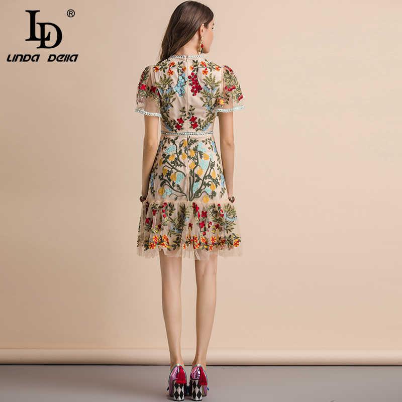 Женское платье с рукавами-клеш LD LINDA DELLA, летнее разноцветное платье с цветочной вышивкой, платье средней длины 2019