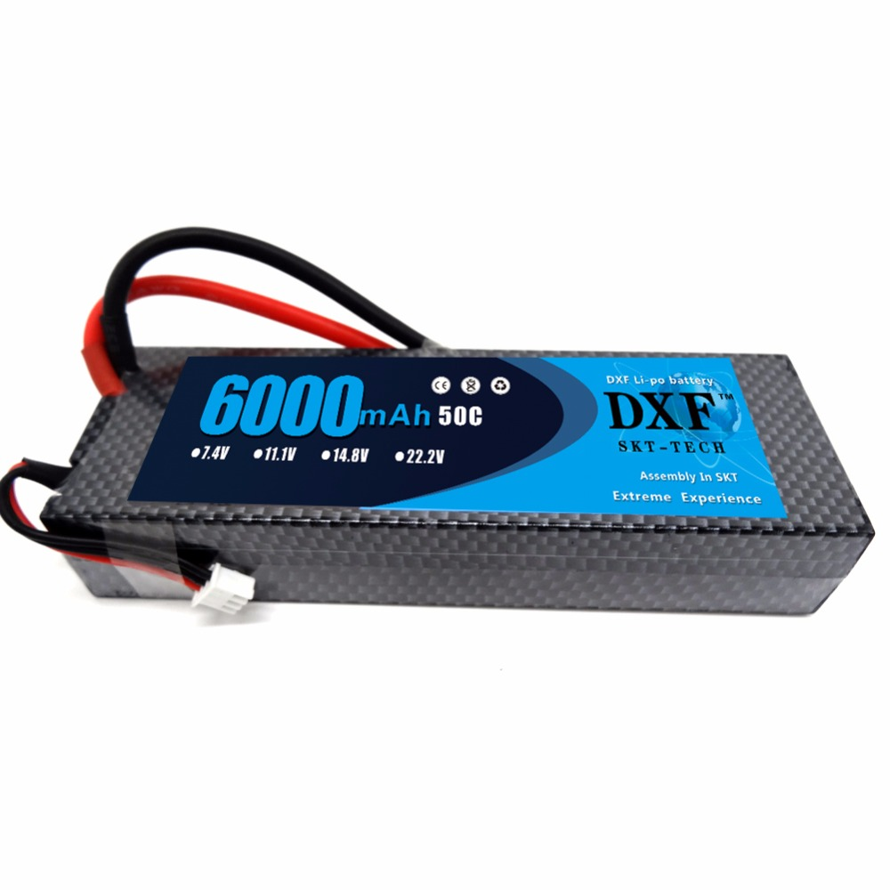 все цены на DXF 7.4V 6000mAh 50C Max 100C LiPo Battery Pack 2S HardCase with Deans T Plug For 1/8 1/10 RC Car Model Traxxas Slash Emaxx