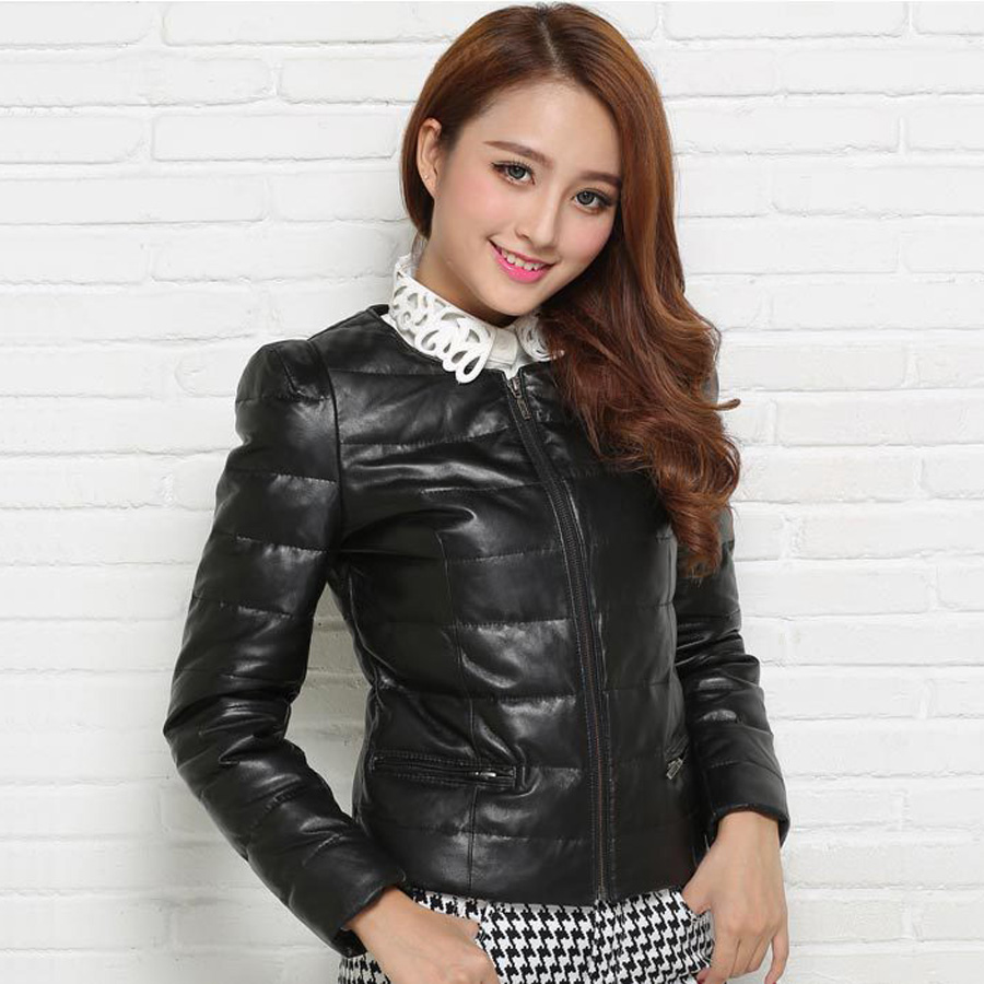 2016 Winter Women's Fashion Slim Short O-Neck Long Sleeve White Duck Down Black Red Genuine Leather Jacket Coat