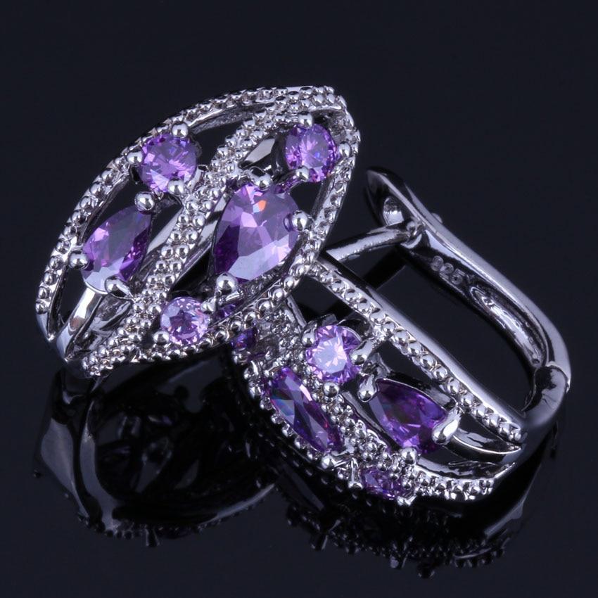 Exquisite Flower Purple Cubic Zirconia 925 Sterling Silver Clip Hoop Huggie Earrings For Women V0940
