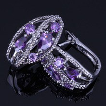 Exquisite Flower Purple Cubic Zirconia 925 Sterling Silver Clip Hoop Huggie Earrings For Women V0940