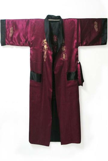 Bordar Robe Reversible Twoface hombres Kimono albornoz pijamas con el dragón YF1180