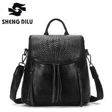100% Натуральная кожа рюкзак большой Ёмкость черная кожаная сумка Женщины Школьный рюкзак Дорожные сумки