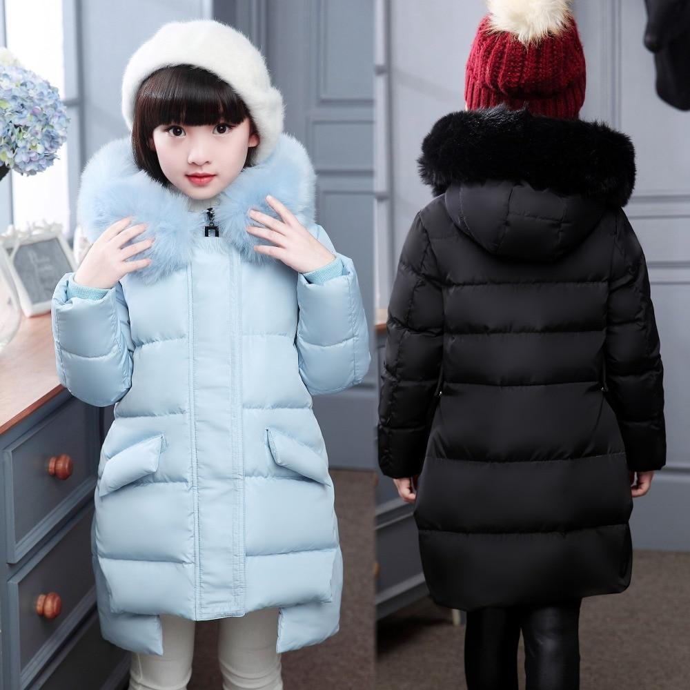 Зимняя мода девушки вниз девочка куртки/пальто зимние пальто толщиной утка теплая куртка видеосалоны верхняя одежда для фуршета-30 градусов куртки