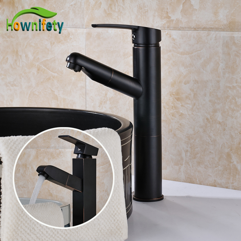 Traditional Oil Rubbed Bronze Bathroom Sink/ Basin Faucet Single Handle Pull Out Mixer Tap Deck Mount allen roth brinkley handsome oil rubbed bronze metal toothbrush holder