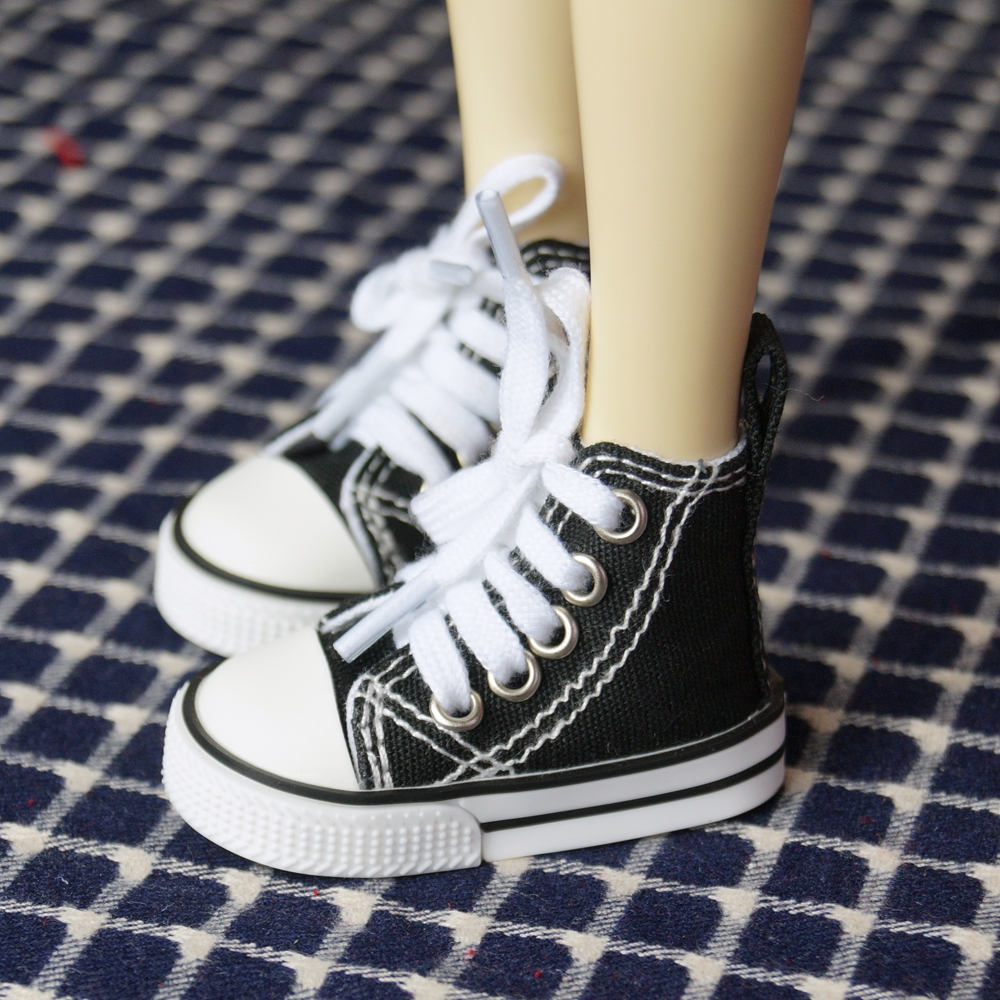 BJD SHOES Black Sneakers Canvas Shoes Sports Flats For 1/4 17