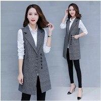 Womens Wool Blend Sleeveless Long Vest Waistcoat Slim Single Breasted