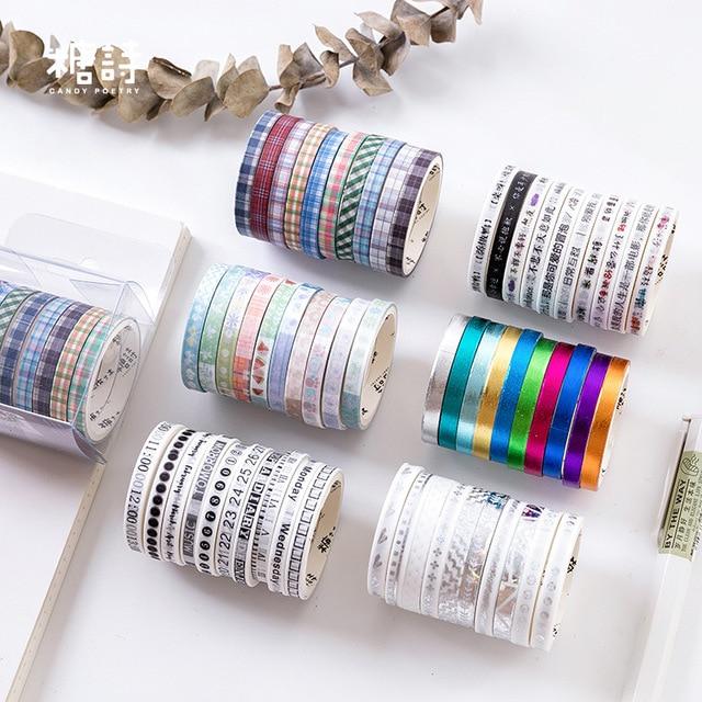 10 unids/pack letras Collage bala diario Washi cinta adhesiva DIY Scrapbooking pegatina etiqueta artesanía cinta adhesiva