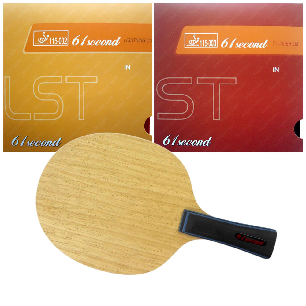 61second 3003 with Lightning DS LST and LM ST Rubbers for a Ping Pong Racket with a free full case Shakehand long handle FL palio energy 03 blade with dhs tinarc 3 and 61second ds lst rubbers for a racket shakehand long handle fl