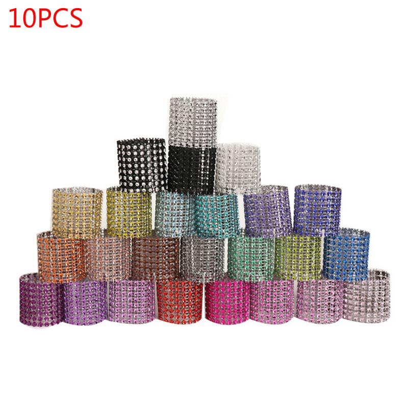 10pcs Acrylic Diamond Napkin Rings Serviette Holder Wedding Dinner Table Decor
