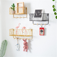 Simple Wrought Iron Kitchen Wall Shelf Home Wall Hanger Decoration Bathroom Storage Hook Storage Holders Shelf Racks