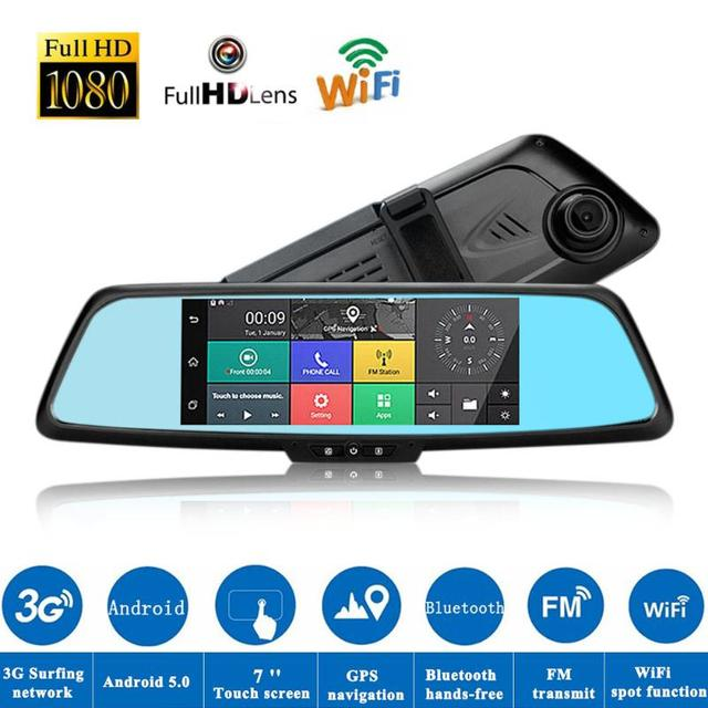 VODOOL 7'' Car DVR Camera IPS Bluetooth Dual Lens 3G Android with GPS Rearview Mirror Car Dash Camera High Quality