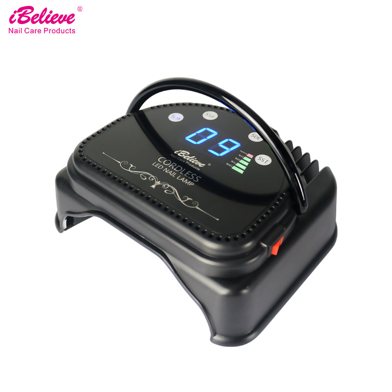 iBelieve 64w Rechargeable LED Nail Dryer Portable Nail Lamp auto sensor LCD timer display Special led