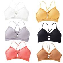 Women Girl Ribbed Knit Bralette Bright Candy Color Cross Strappy Backless Underwear Hollow Knotted Front Push Up Padded Crop Top