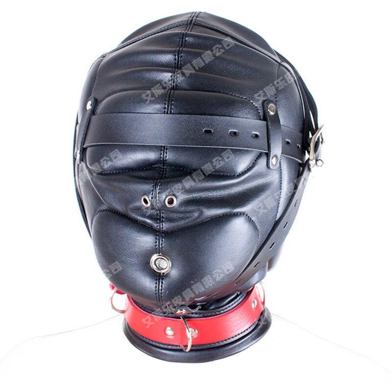Black PU Leather Fully Enclosed Bondage Hood Headgear Adult Games Bdsm Fetish Restraints Tools Sex Products Head Harness Mask