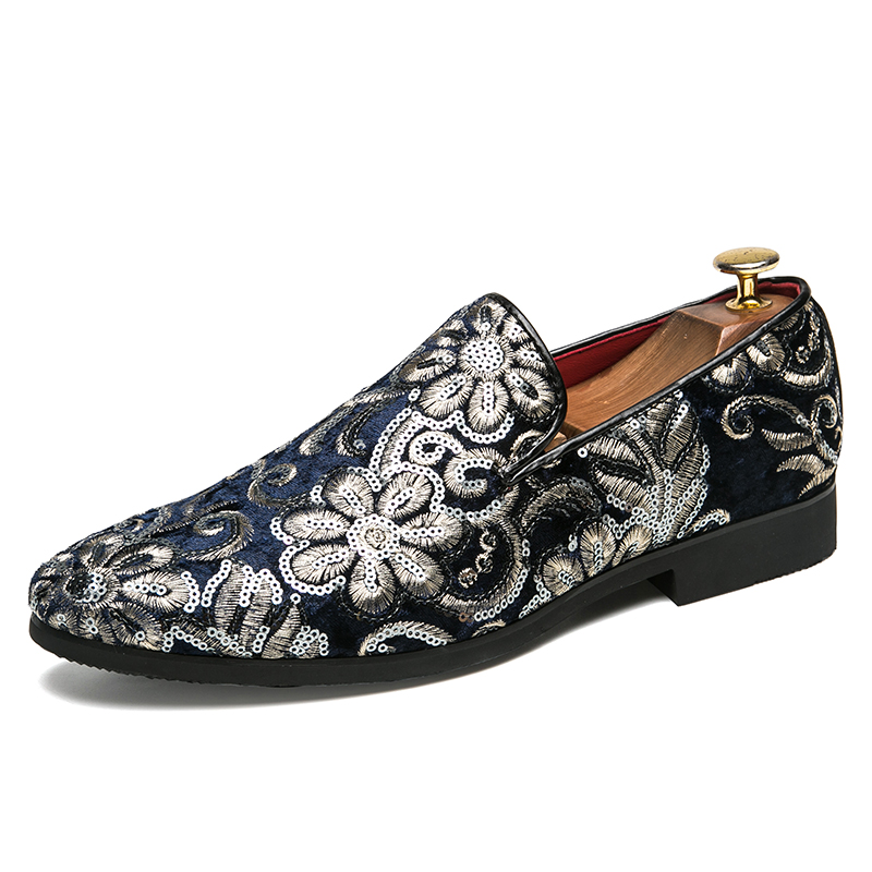 men big size luxury fashion party nightclub dress corduroy summer shoes cow suede embroidery slip-on lazy shoe teenage loafers