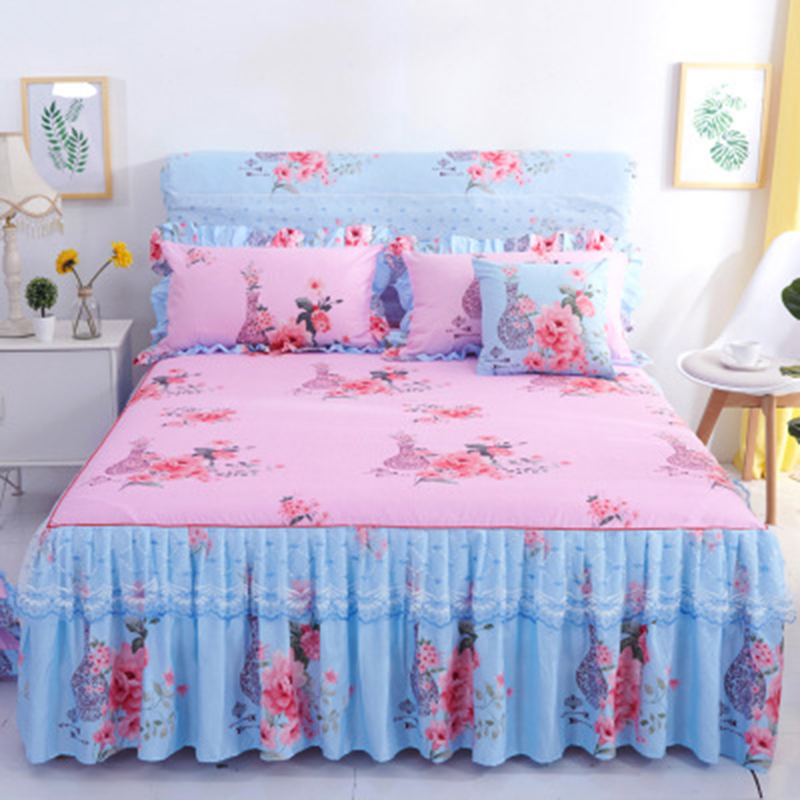 Permalink to Bedding 1 piece set new lace bed cover fashion bed skirt thick sheets 2 pillowcase / double bed single bed dust ruffle
