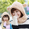 2 Size Women children Cotton Warm Animal Hoodies Hat and Scarf Fluffy Warm One Piece Set Cute Bear Winter Caps Boy Girls