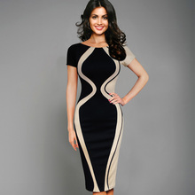 Womens Dresses Elegant Optical Illusion Colorblock Contrast Patchwork O-Neck Bodycon Work Casual Office Pencil Dress 205