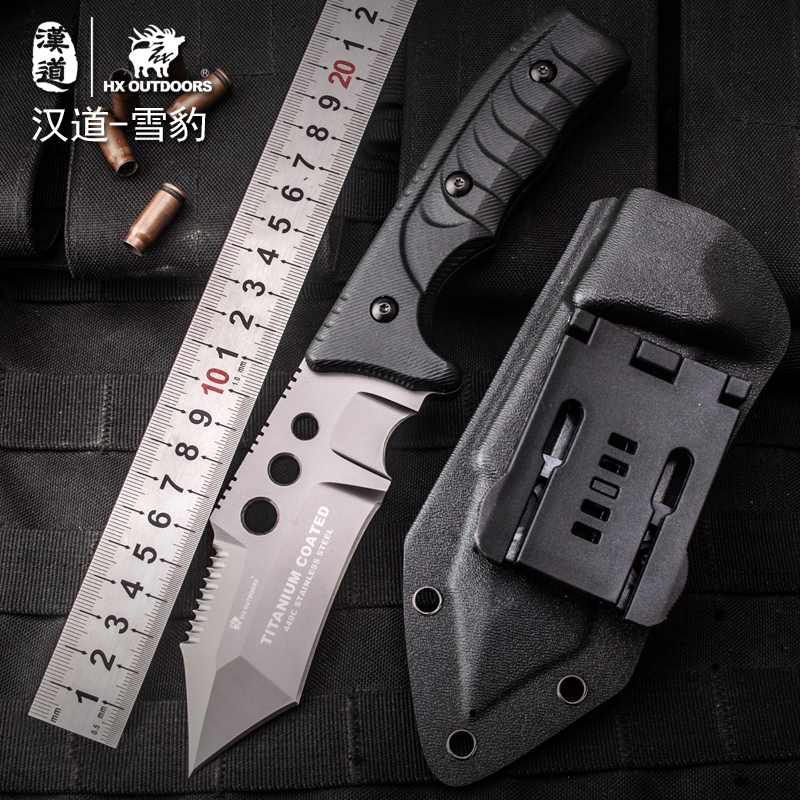HX outdoor survival knife surface plated titanium fixed blade brand hunting knife pocket camping hand tool multi tactical knives high quality army survival knife high hardness wilderness knives essential self defense camping knife hunting outdoor tools edc