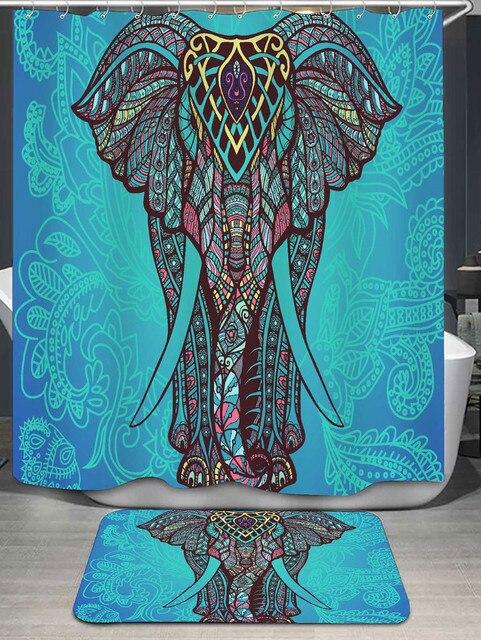 Bohemian Elephant Shower Curtain And Rug Non Slip Mat Carpet Set