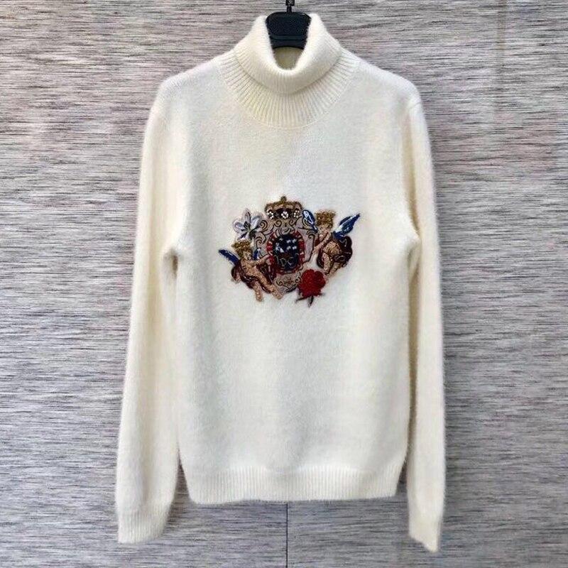 Женский белый свитер пуловеры осень зима 2018 водолазка женский свитер с длинным рукавом Повседневный новый свитер