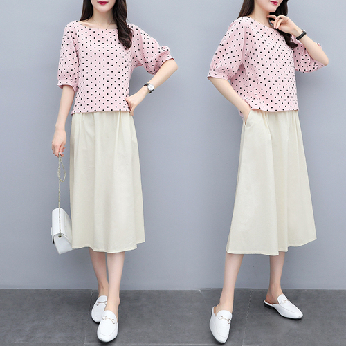 S-3xl Summer Cotton Linen Korean Women Two Piece Outfits Sets Plus Size Dot Print Tops And A-line Skirt Suits Casual Office Sets 48