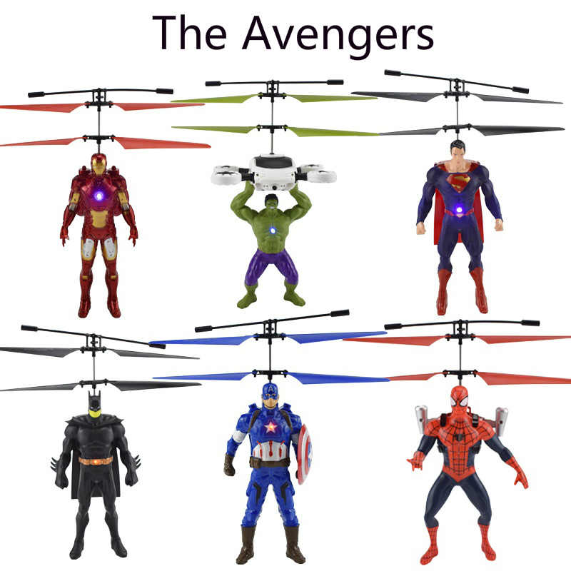 The Avengers Big Superhero mini Helicopter RC drone Fly Flashing Induction Aircraft Hand Control Quadcopter Dron LED Kids Gift