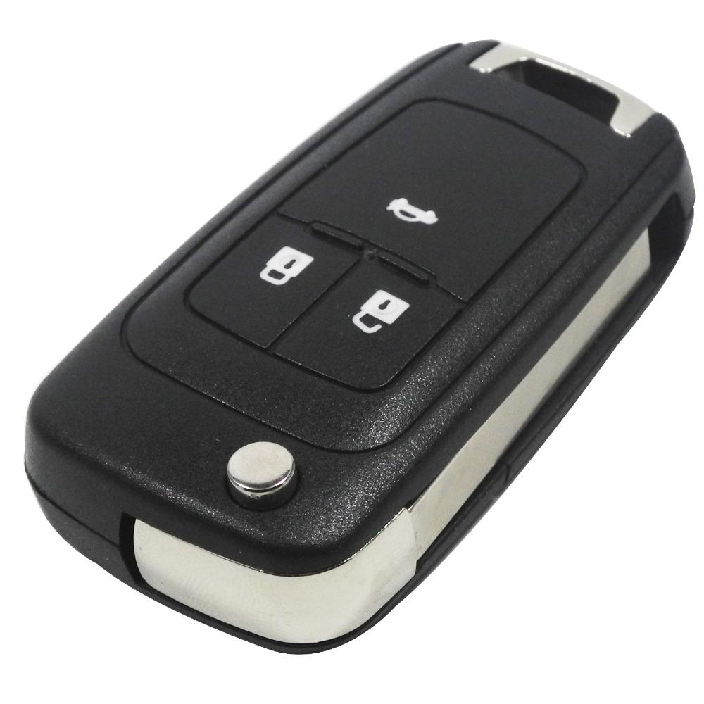 Prix pour 20 pcs/lot Flip Pliant Clés Shell pour Chevrolet Cruze Clé À Distance Cas Sans Clé Fob 3 Bouton Uncut HU100 Lame LOGO inclus