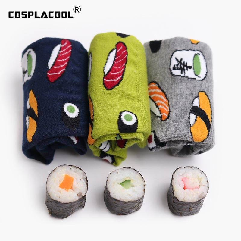 [COSPLACOOL]Harajuku Funny Socks Sushi/Pineapple/Hamburger/Chili Creative Socks Women Cartoon Happy Cute Socks Calcetines Mujer