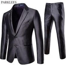 Traje Formal de negocios de 2 unidades para hombre elegante sólido de dos  botones Slim Fit trajes con pantalones de boda novio f. 668a6109b7f