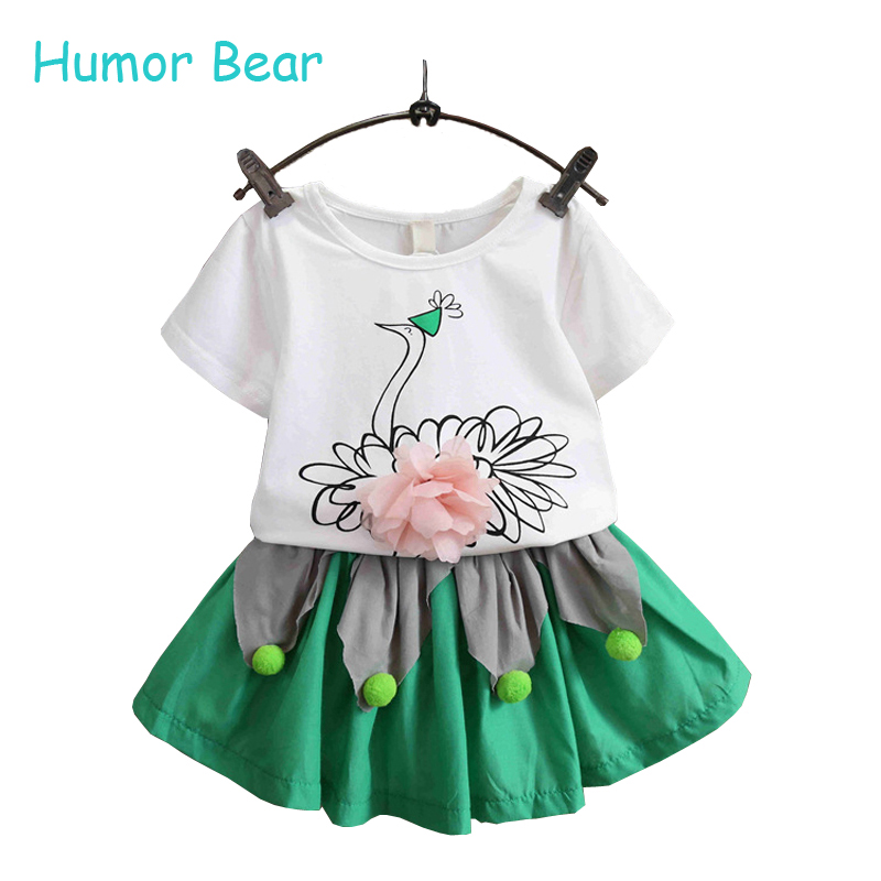 Humor Bear Fashion Cartoon Girls Summer Clothes Baby Suits Kids flower vest+shorts Children Clothing Set