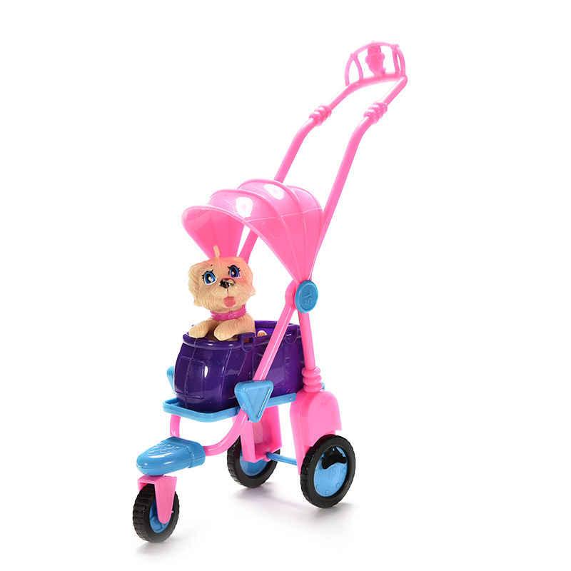 TOYZHIJIA 1 ชุดน่ารัก Muti-สีพลาสติกรถเข็นเด็กสัตว์เลี้ยงสุนัขและรถเข็นเด็กสำหรับตุ๊กตาเฟอร์นิเจอร์ตุ๊กตาอุปกรณ์เสริม