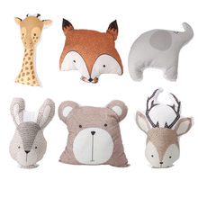 Infant Baby & Toddler Cute Sika Deer Bear Rabbit Elephant Fox Giraffe Stuffed Animal Plush Toys Doll Pillow Funda Cojine -B116