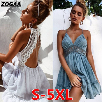 20e5ae094e2d0da ZOGAA/летнее платье для девочек, платья на бретельках с бантом, сексуальное  женское пляжное платье без рукавов с открытой спиной, ажурное круж.