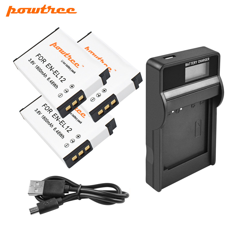 Powtree 1800mAh EN-EL12 Battery+LCD Charger For Nikon EN EL12 CoolPix S610 S610c S620 S630 S710 P300 P310 P330 S6200 S9400 L15