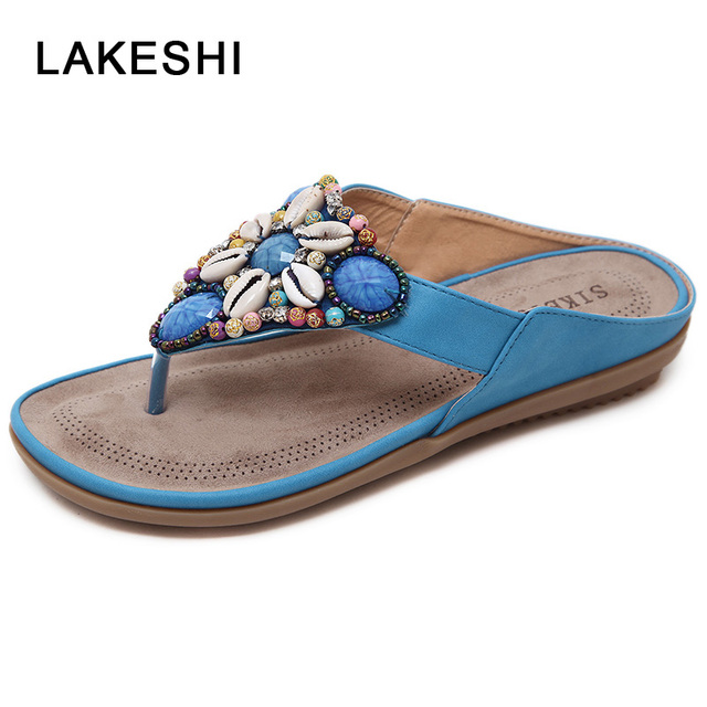 9ac3ab22f01630 LAKESHI Summer Shoes Woman Beach Sandals Gemstone Floral Beaded Flip Flops  Bohemia Ladies Shoes Causal Flat Sandals
