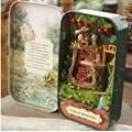 Caixa de Lata Casa De Bonecas em miniatura com Móveis, casa de Bonecas DIY Kit Toy para o Presente do Garoto, Bonito Em Miniatura Quarto Floresta rapsódia Em Caixa