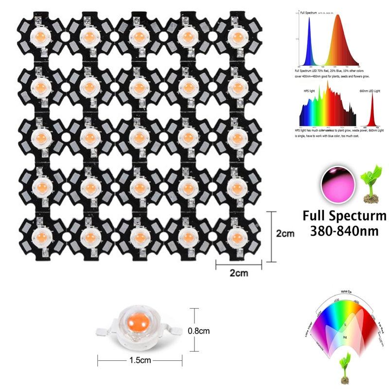 10-1000 1W 3W 5W full spectrum led grow light chip 380-840nm,best led grow chip