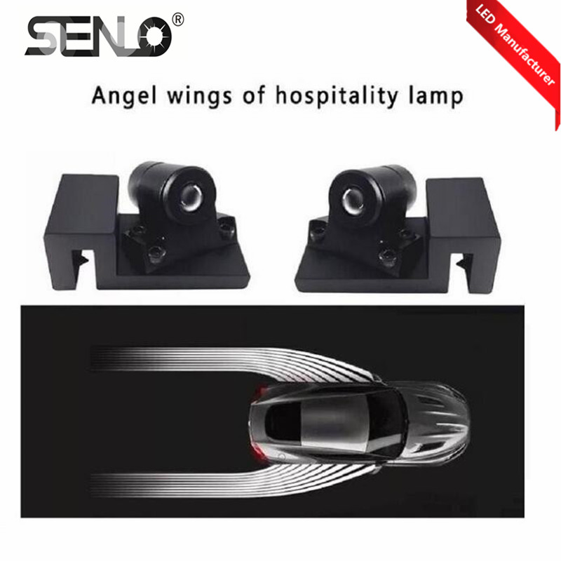 White /Red/Blue Super bright Car Angel Wings LED Welcome Door Light For Car Motorcycle LED Projector Headlight Ghost Shadow lamp