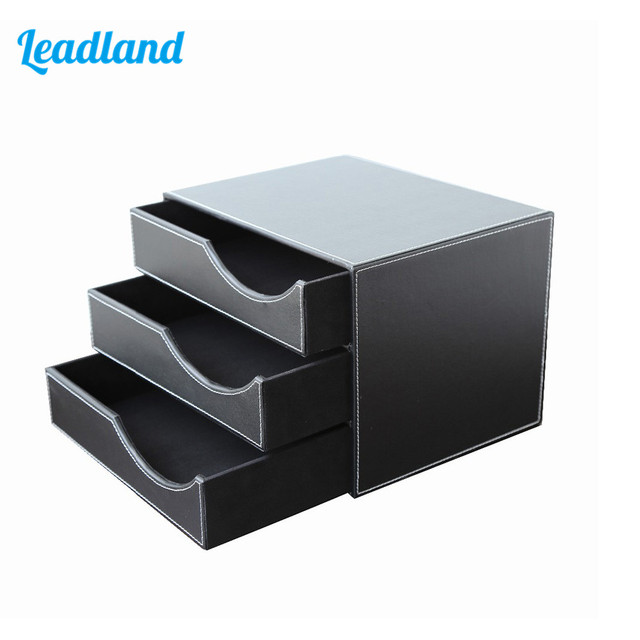 3 Drawer PU Leather Office Desk File Cabinet Organizer Holder File Document  Storage Box 1447
