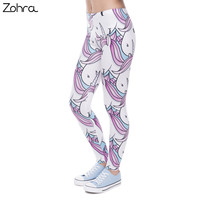Zohra New Fashion Women Leggings Digital Printed Trousers Pink White Unicorn Legging Slim High Waist Legins