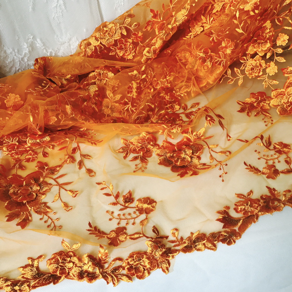Luxury Orange Embroidered Mesh Lace Fabric, 3D Flower Tulle Lace Fabric For Bridal Veil, Dance Dress, Wedding Backdrop