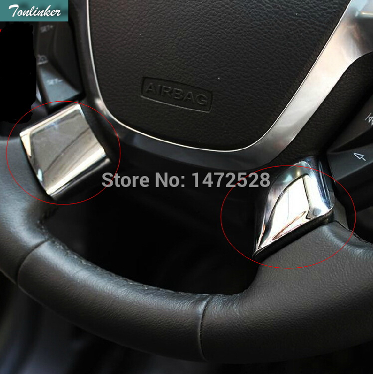 Tonlinker 2 PCS Car styling NEW ABS Chrome trim steering wheel paillette refires Stickers for Ford Escape Kuga 2013 2014