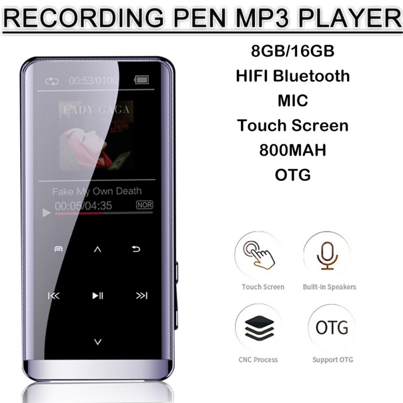 M13 8GB Recording Pen OTG MP3 Music Player Recorder FM Radio HIFI Bluetooth Touch Screen Support 25 Languages