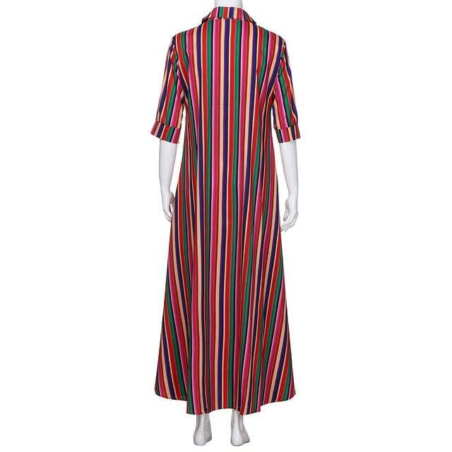 76d41656a71e1 2018 Women Summer Dress sarafan female Striped Multicolor Loose Button Boho  Robe Long Dresses Beach Sundress vestidos verano