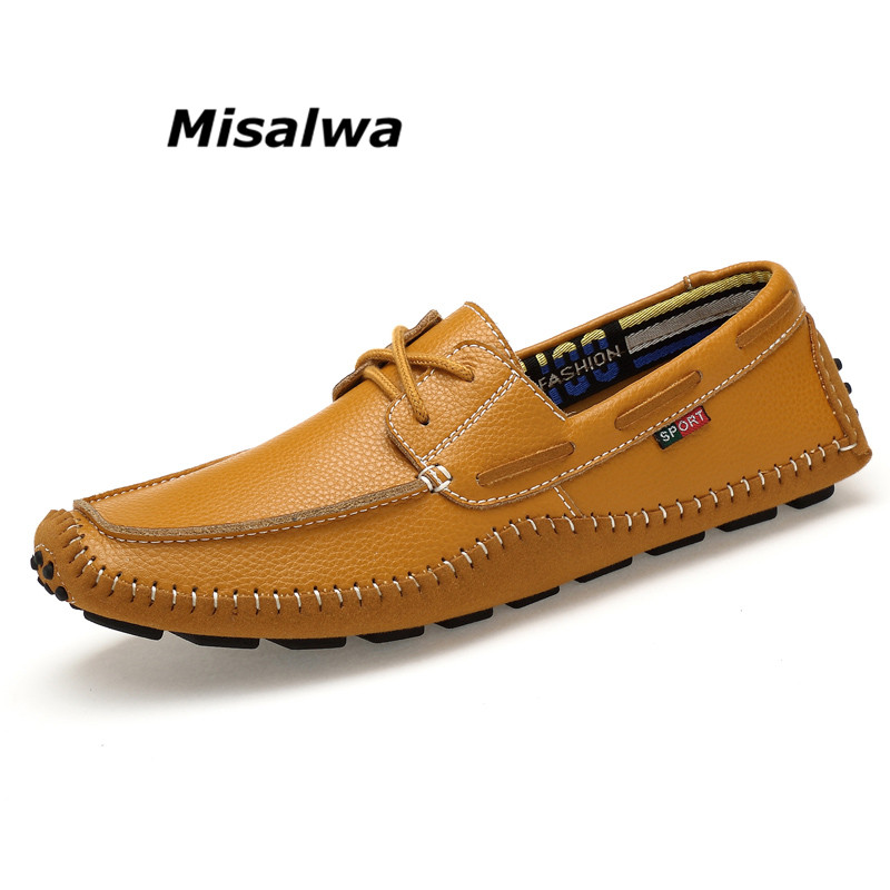 Misalwa 2018 Summer Fashion Round Toe Breathable Split Leather Handmade Moccasins Luxury Loafers Men Casual Shoes Big Size 36~46